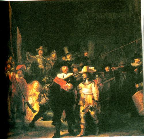 伦勃朗《夜巡》(1642)画布油彩 359x435cm