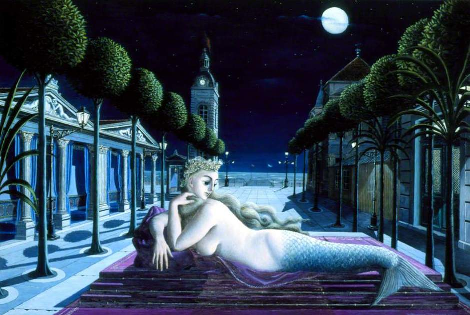 A Siren in Full Moonlight by Paul Delvaux Southampton City Art Gallery Date painted: 1940 Oil on panel, 111.9 x 180 cm Collection: Southampton City Art Gallery
